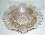 Click here to enlarge image and see more about item JW10: RUFFLED PEACH LUSTRE  CARNIVAL GLASS DISH