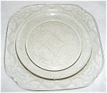 Click here to enlarge image and see more about item JW11: LIGHT GREEN DEPRESSION GLASS PLATE
