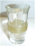 Click here to enlarge image and see more about item SH10: OLD THICK GLASS YELLOW BAND CLEAR SHOT GLASS