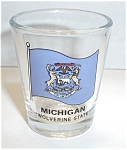 Click here to enlarge image and see more about item SH22: MICHIGAN WOLVERINE STATE SHOT GLASS