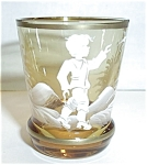 Click here to enlarge image and see more about item SH5: AMBER WHITE GOLD PAINTED BOY SHOT GLASS