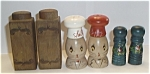 Click here to enlarge image and see more about item SP01: 3 OLD WOODEN SETS SALT & PEPPER