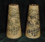 Click here to enlarge image and see more about item W229: FRONTEIR TOWN N.Y. SALT AND PEPPER SHAKERS