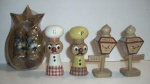 Click here to enlarge image and see more about item W56: 3 WOODEN SET SALT AND PEPPER`S
