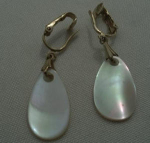 Click here to enlarge image and see more about item W59: SARAH CONVENTRY MOTHER OF PEARL EAR RINGS