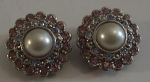 Click here to enlarge image and see more about item W65:  PINK / LIGHT BLUE PEARL CLIP EAR RINGS