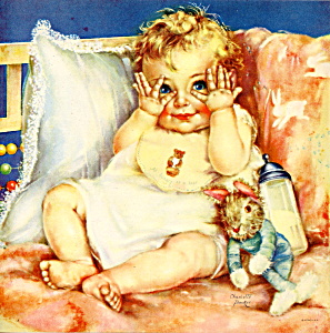 Peek-a-boo Baby 1950s Calendar Picture