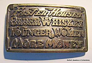 Belt buckle, 'Faster Horses, etc'  vintage 1977 (Image1)