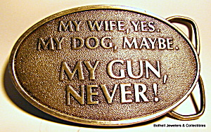 Belt buckle, 'My Gun, Never!' vintage 1976 (Image1)
