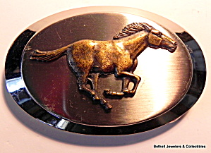 Belt Buckle Vintage bronze horse on silver (Image1)