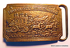 Vintage  stagecoach and horses bronze belt buckle (Image1)