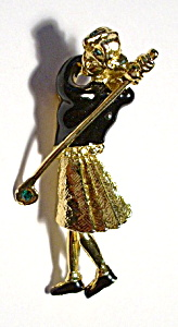 Vintage Scottish golfer brooch or pin (Image1)