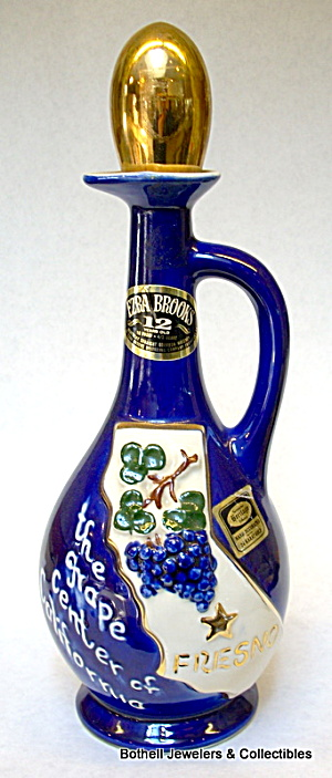 'fresno Grape Center' Whiskey Bottle Decanter 1970
