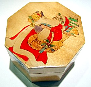 Santa Claus wooden hand painted box (Image1)