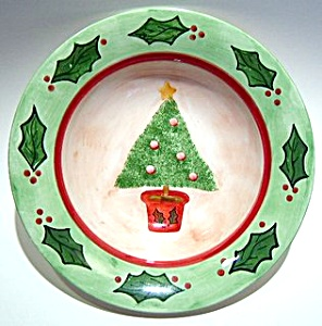 Christmas tree  hand painted bowl or plate (Image1)