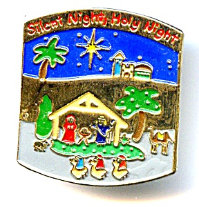 Christmas Manger Scene Enameled Lapel Pin