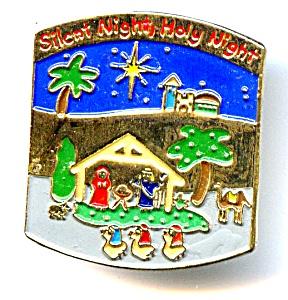 Christmas Manger scene enameled lapel pin (Image1)