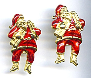 Santa Claus Christmas enameled post drop earrings (Image1)