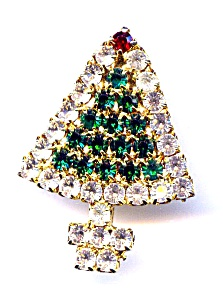Rhinestone Christmas Tree Brooch Pin