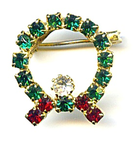 Christmas Wreath Rhinestone Brooch Pin