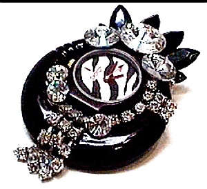 Vintage watch parts rhinestone brooch (Image1)