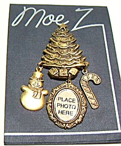 Christmas Tree Snowman Etched Design Brooch