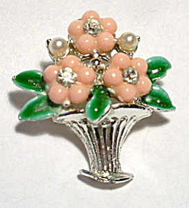 Vintage flowers in vase brooch or pin (Image1)