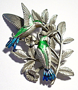 Hummingbirds pewter brooch or pin (Image1)