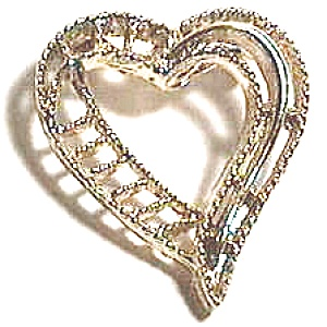 Vintage gold plated open heart brooch or pin (Image1)