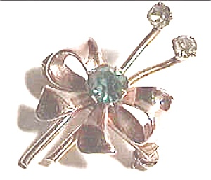 Gold filled ribbon flower design rhinestone brooch (Image1)