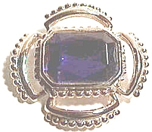 Faux blue Sapphire vintage gold plated brooch (Image1)