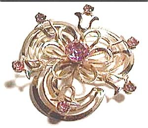 Vintage pink rhinestone flower swirl brooch (Image1)