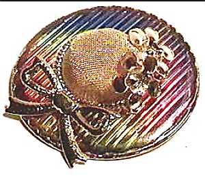 vintage ribbon flower rainbow hat brooch (Image1)