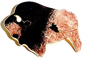 Buffalo ceramic enamel brooch pin (Image1)