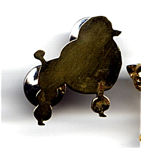 Poodle dog brass lapel pin (Image1)