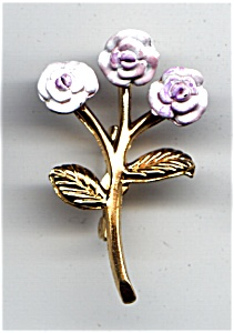 Lavender three flower gold tone brooch or pin (Image1)