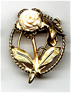Hand carved bone rose brooch or pin (Image1)
