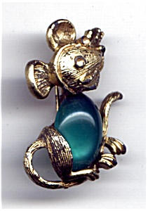 Vintage Mouse green stone brooch pin (Image1)