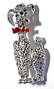 French Poodle dog silver toned brooch or pin (Image1)