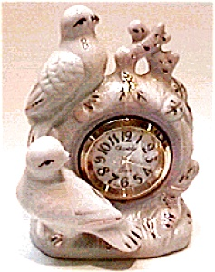 Peace Doves Figurine Ceramic Quartz Clock