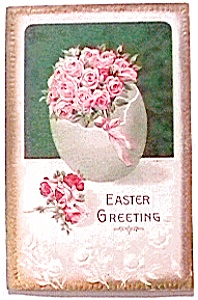 Easter Greeting Flower Postcard 1912 (Image1)