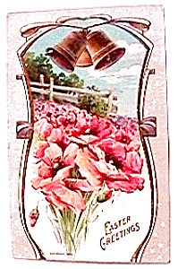 Easter Flowers Bells Postcard 1913 (Image1)