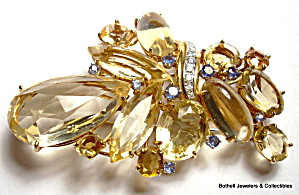 Vintage 14k Gold Diamond, Sapphire, Golden Topaz Brooch