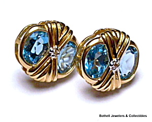 Swiss Blue Topaz 14k Yellow Gold Post Earrings