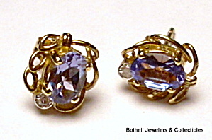 Tanzanite 14K yellow gold post earrings (Image1)