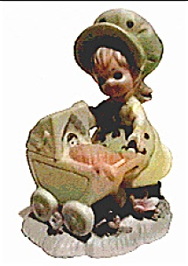 Vintage girl & baby carriage figurine (Image1)