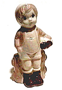 Boy With Basket Standing Vintage Figurine