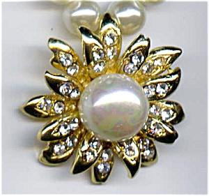 Faux Pearl Rhinestone Leaf Design Necklace (Image1)