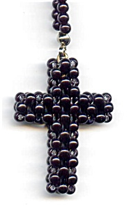 Black cross beaded necklace (Image1)