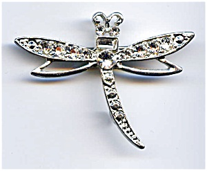 White Rhinestone Dragonfly Brooch Pin (Image1)